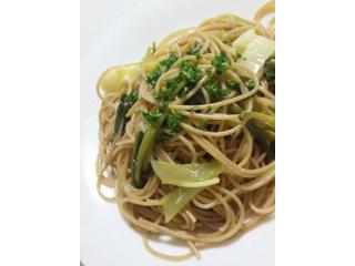 葱と小松菜のペペロンチーノスパゲティー
