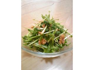 水菜といんげん胡桃の梅酢サラダ